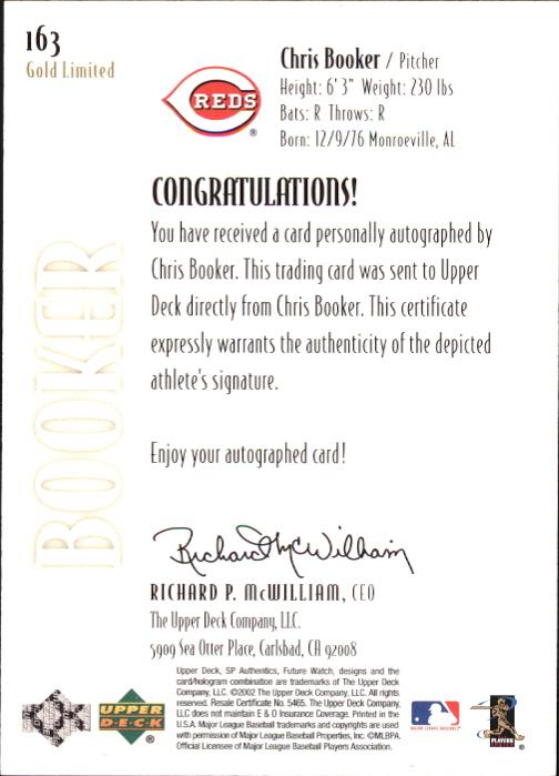 2002 SP Authentic Limited Gold #163 Chris Booker FW AU back image