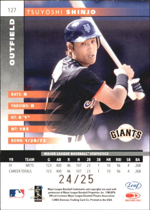 2002 Leaf Press Proofs Platinum #127 Tsuyoshi Shinjo back image