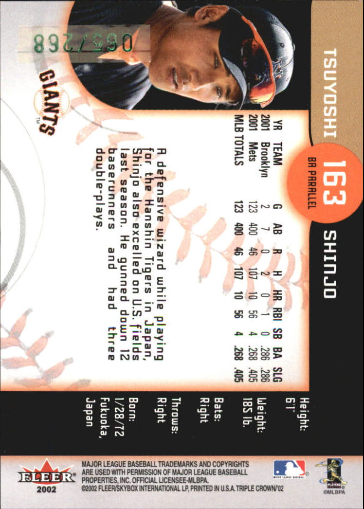 2002 Fleer Triple Crown Batting Average Parallel #163 Tsuyoshi Shinjo/268 back image