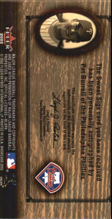 2002 Fleer Showcase Sweet Sigs Leather #3 Pat Burrell/35 back image