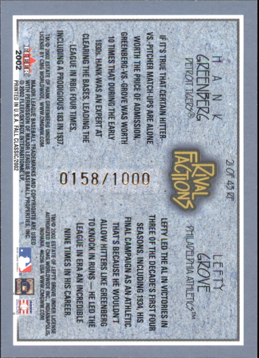 2002 Fleer Fall Classics Rival Factions #21 H.Greenberg/L.Grove back image