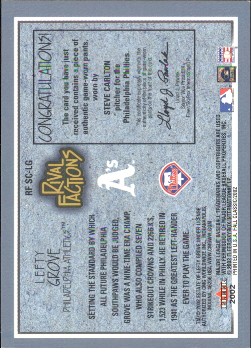 2002 Fleer Fall Classics Rival Factions Game Used #8 Steve Carlton Pants-Grove back image