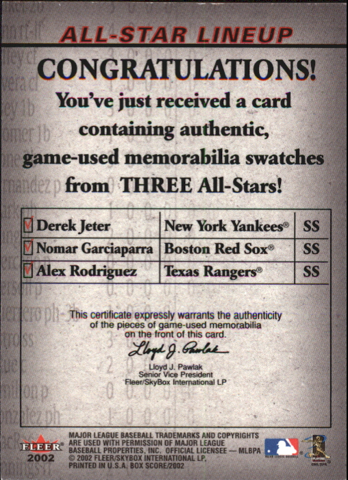 2002 Fleer Box Score All-Star Lineup Game Used #1 Derek Jeter Bat/Nomar Garciaparra Bat/Alex Rodriguez Jsy back image