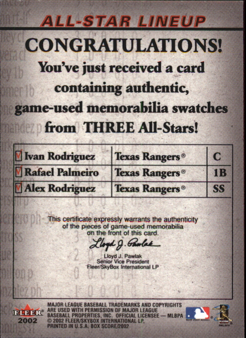 2002 Fleer Box Score All-Star Lineup Game Used #3 Ivan Rodriguez Jsy/Rafael Palmeiro Bat/Alex Rodriguez Jsy back image