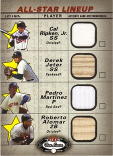 2002 Fleer Box Score All-Star Lineup Game Used #6 Cal Ripken Jsy/Derek Jeter Bat/Pedro Martinez Jsy/Roberto Alomar Bat