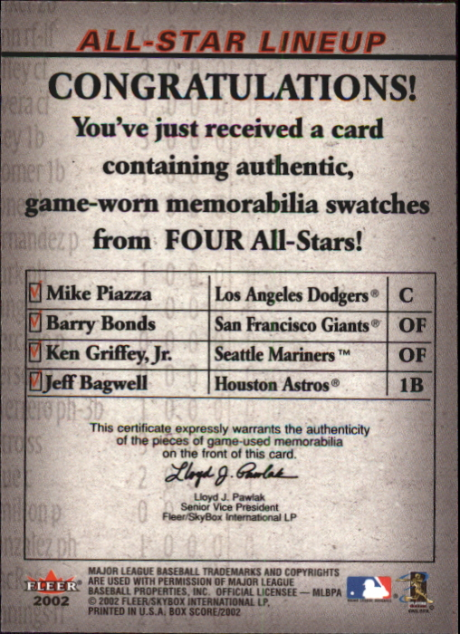 2002 Fleer Box Score All-Star Lineup Game Used #7 Mike Piazza Jsy/Barry Bonds Bat/Ken Griffey Jr. Base/Jeff Bagwell Bat back image