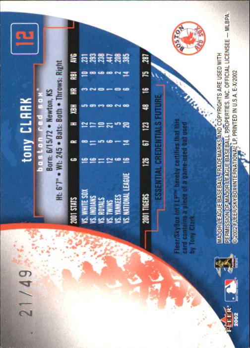 2002 E-X Essential Credentials Future #12 Tony Clark Bat/49 back image