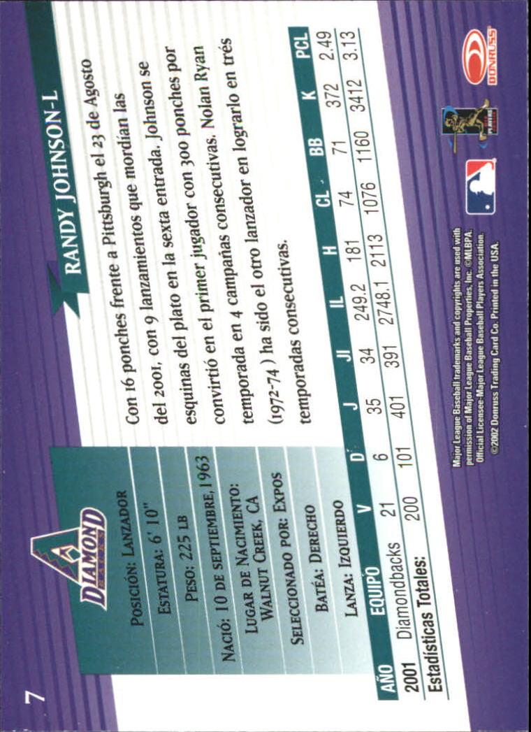 2002 Donruss Super Estrellas #7 Randy Johnson back image