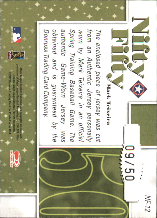 2002 Donruss Originals Nifty Fifty Jerseys #12 Mark Teixeira back image
