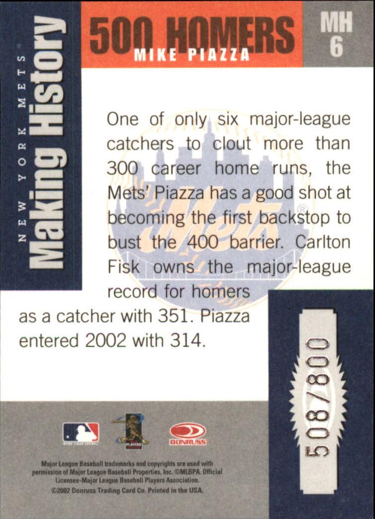 2002 Donruss Originals Making History #6 Mike Piazza back image