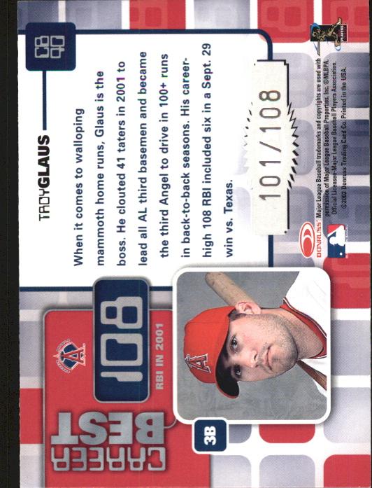 2002 Donruss Elite Career Best #40 Troy Glaus RBI/108 back image