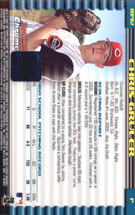 2002 Bowman Chrome Draft #167 Chris Gruler AU RC back image