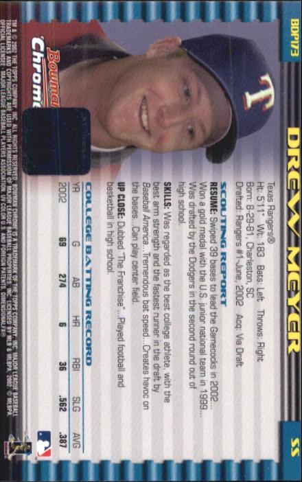 2002 Bowman Chrome Draft #173 Drew Meyer AU RC back image