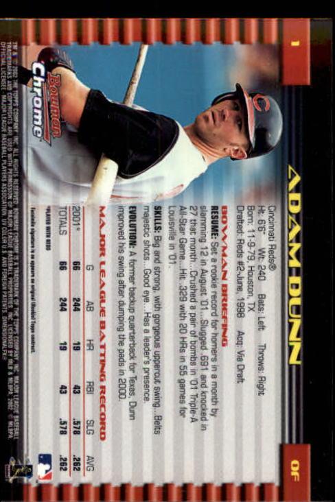 2002 Bowman Chrome #1 Adam Dunn back image