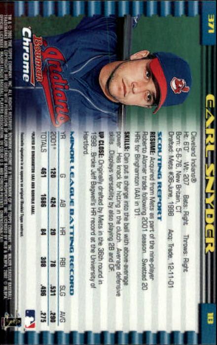 2002 Bowman Chrome #371 Earl Snyder SP RC
