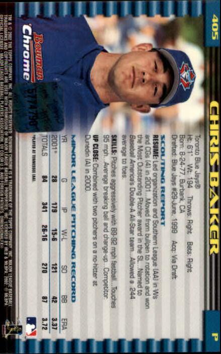 2002 Bowman Chrome #405 Chris Baker AU A RC back image