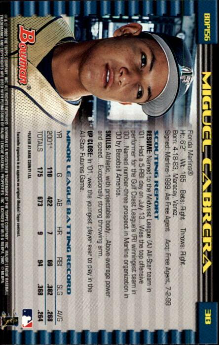 2002 Bowman Draft #BDP156 Miguel Cabrera back image