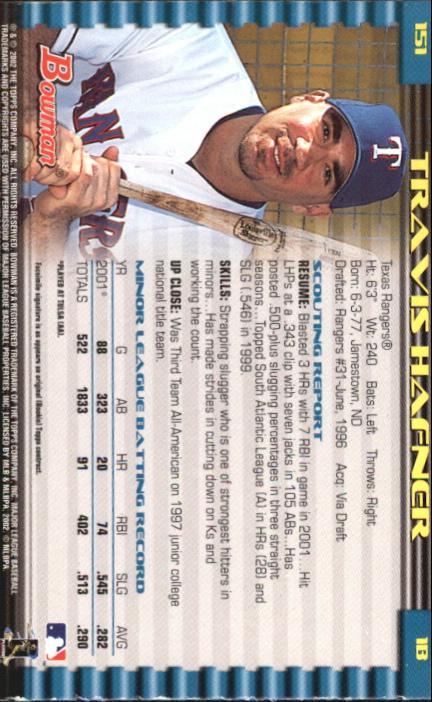 2002 Bowman Gold #151 Travis Hafner back image