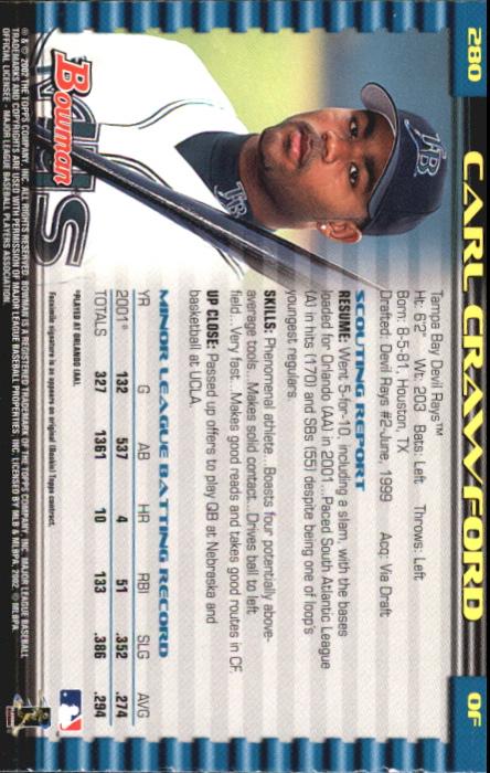 2002 Bowman Gold #280 Carl Crawford back image