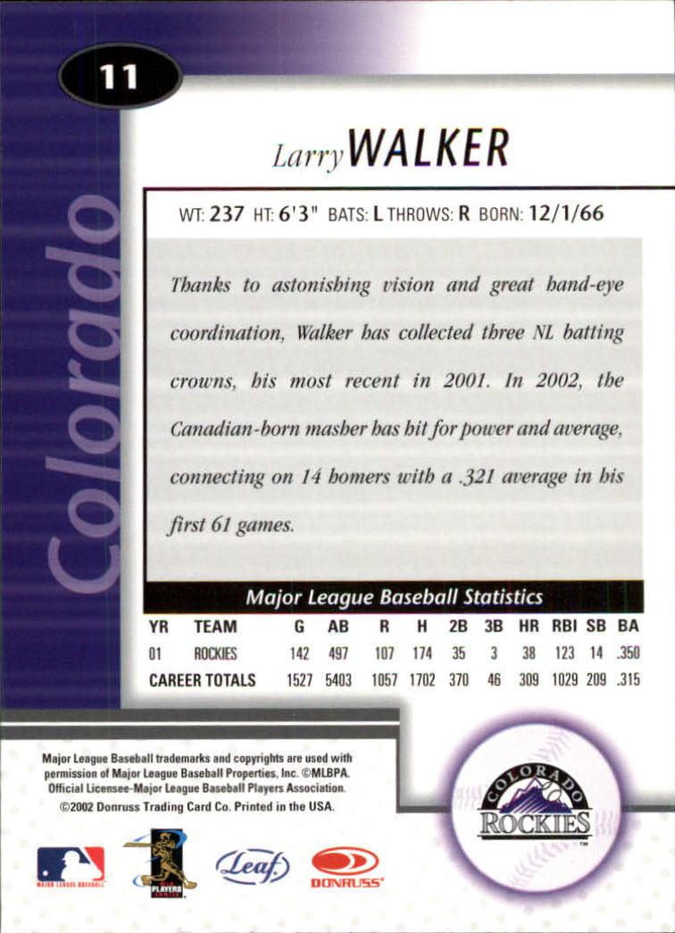 2002 Leaf Certified #11 Larry Walker back image