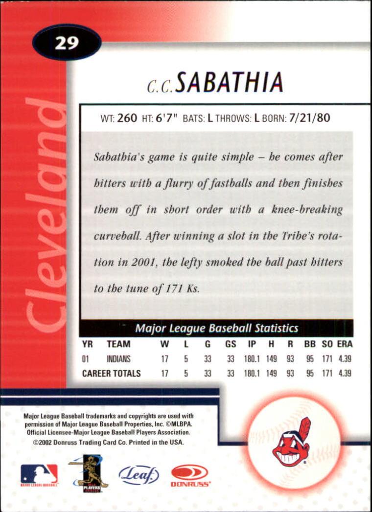 2002 Leaf Certified #29 C.C. Sabathia back image