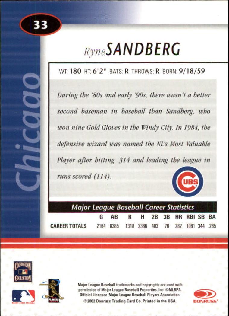 2002 Leaf Certified #33 Ryne Sandberg back image