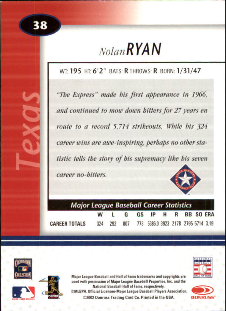 2002 Leaf Certified #38 Nolan Ryan back image