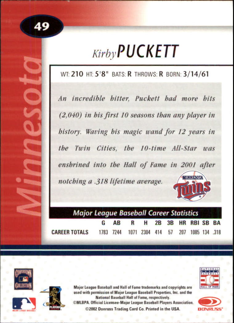 2002 Leaf Certified #49 Kirby Puckett back image