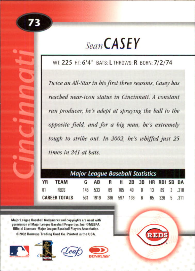 2002 Leaf Certified #73 Sean Casey back image