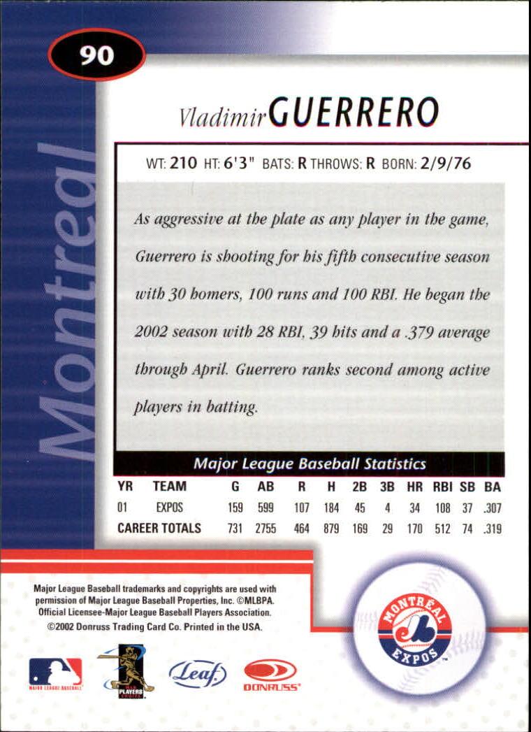 2002 Leaf Certified #90 Vladimir Guerrero back image
