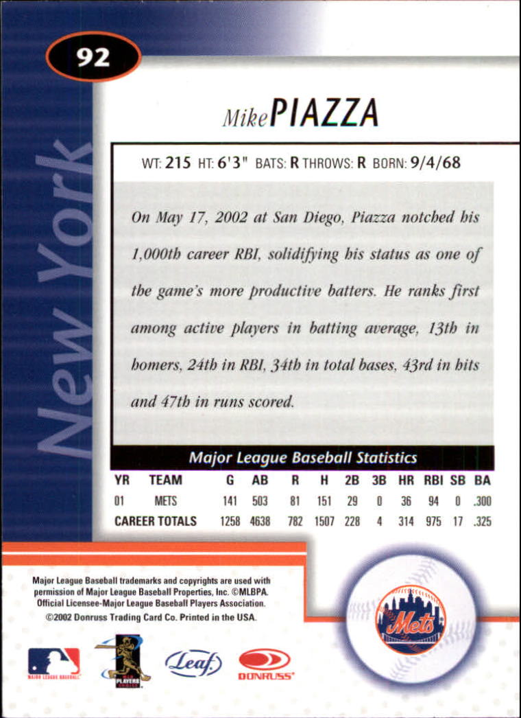 2002 Leaf Certified #92 Mike Piazza back image
