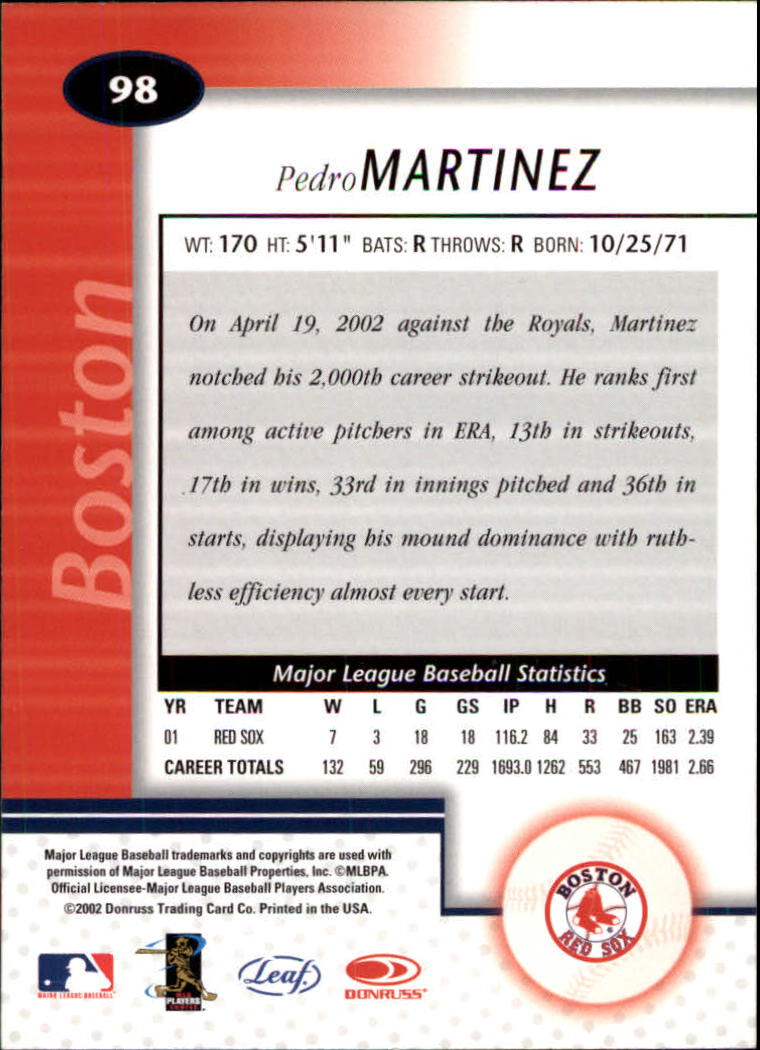 2002 Leaf Certified #98 Pedro Martinez back image