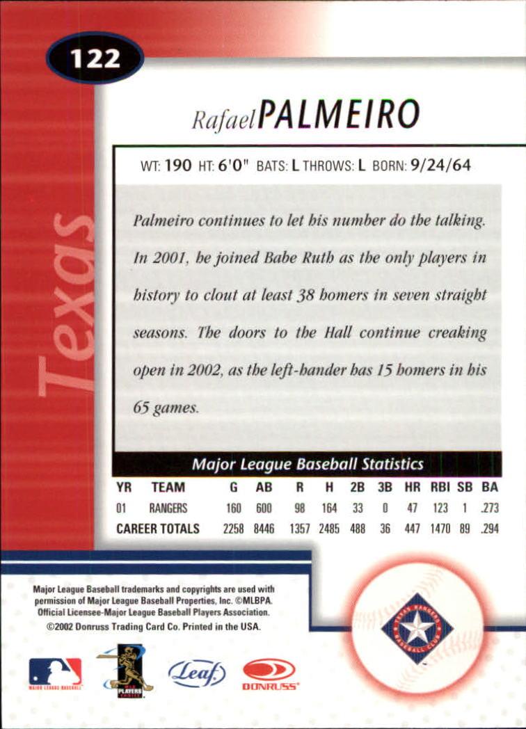 2002 Leaf Certified #122 Rafael Palmeiro back image
