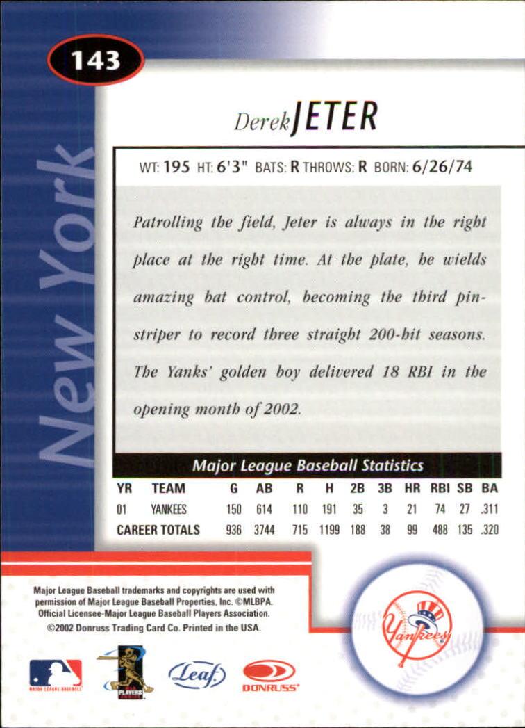 2002 Leaf Certified #143 Derek Jeter back image