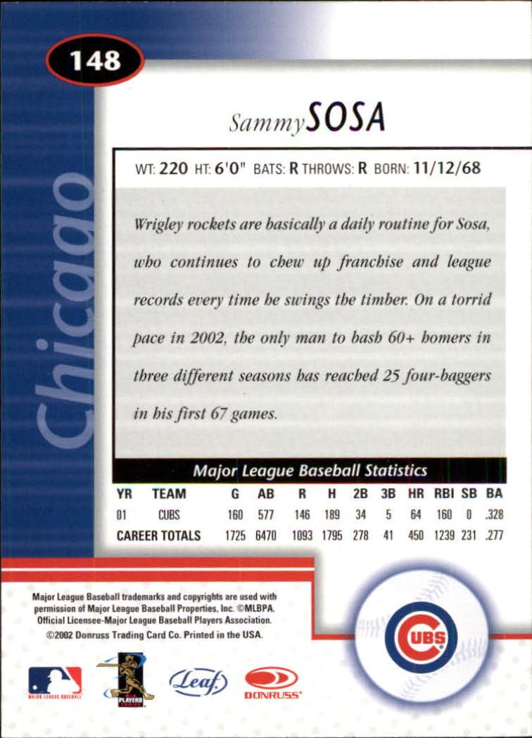 2002 Leaf Certified #148 Sammy Sosa back image