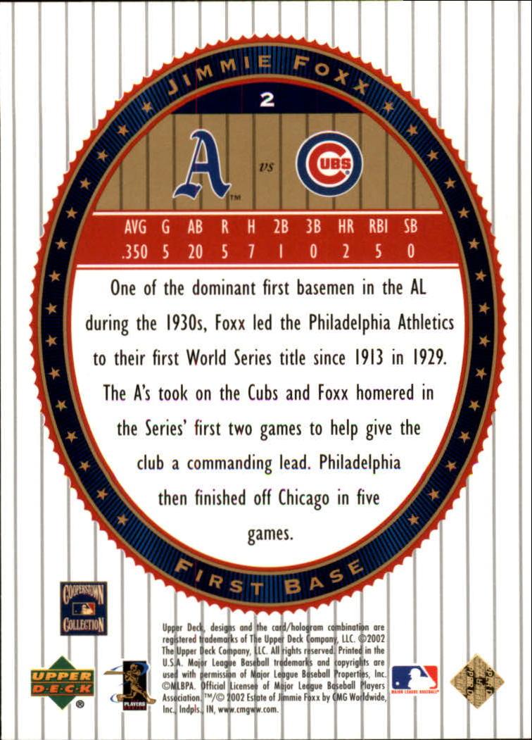 2002 Upper Deck World Series Heroes #2 Jimmie Foxx back image
