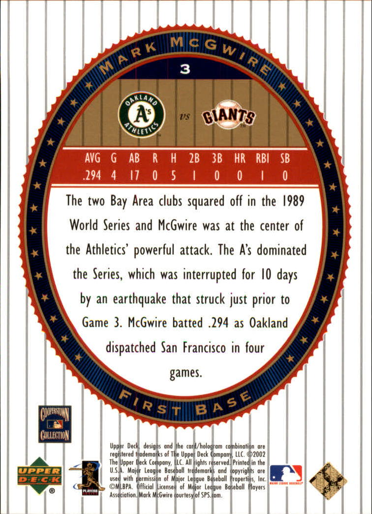 2002 Upper Deck World Series Heroes #3 Mark McGwire back image