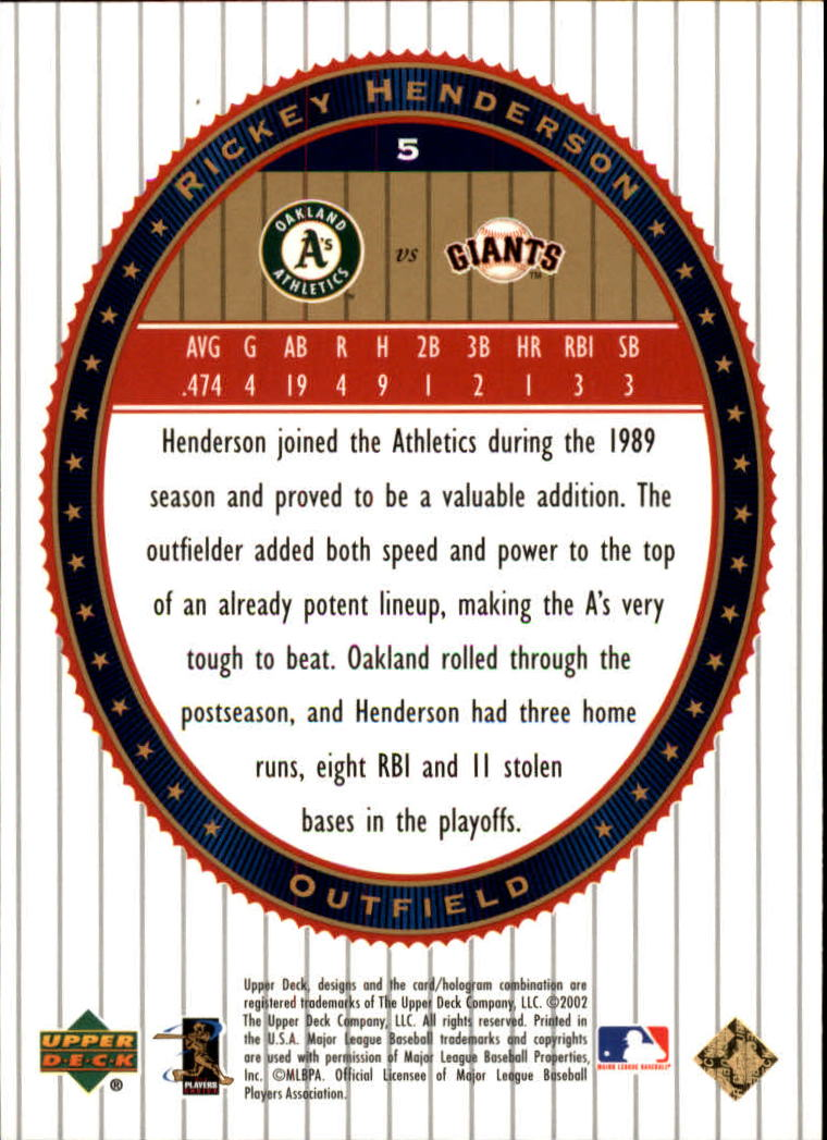 2002 Upper Deck World Series Heroes #5 Rickey Henderson back image
