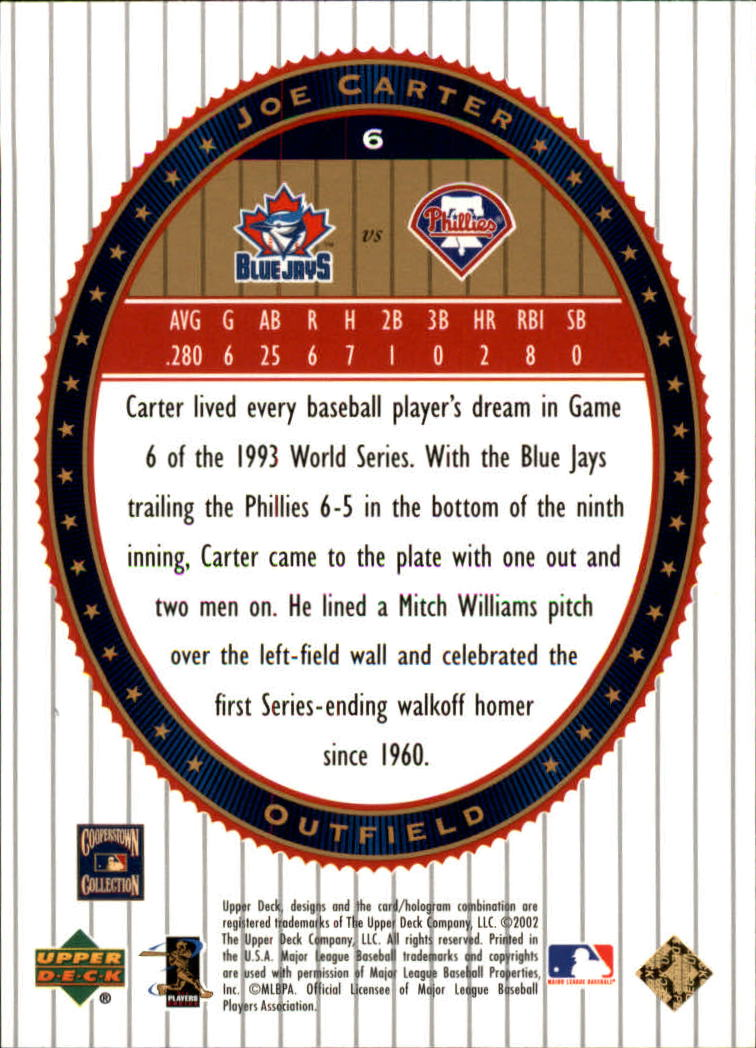 2002 Upper Deck World Series Heroes #6 Joe Carter back image