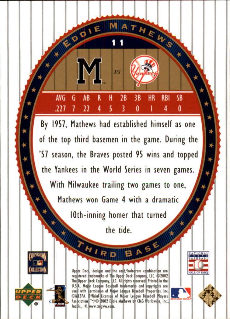 2002 Upper Deck World Series Heroes #11 Eddie Mathews back image