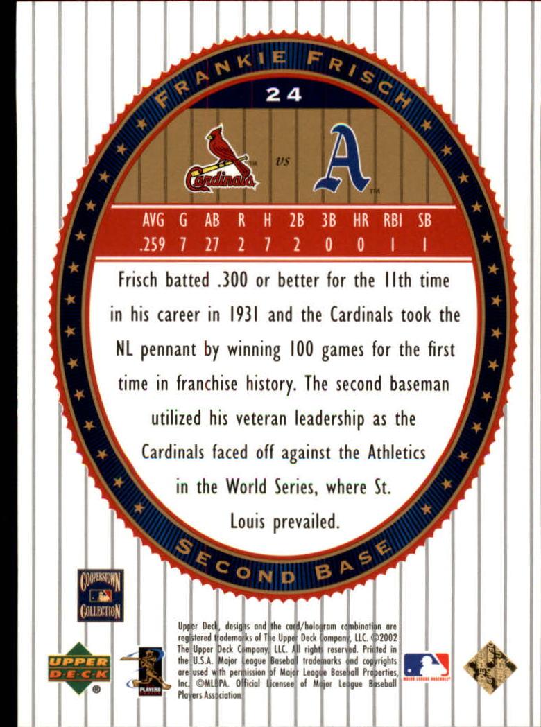 2002 Upper Deck World Series Heroes #24 Frankie Frisch back image