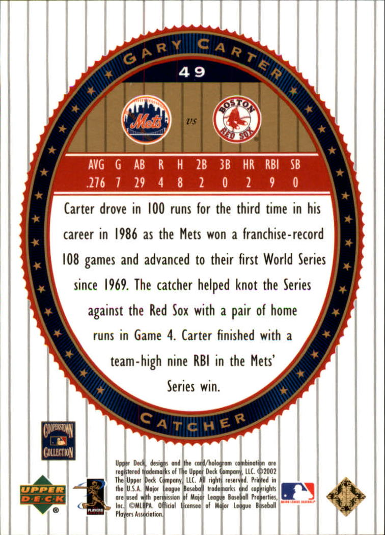 2002 Upper Deck World Series Heroes #49 Gary Carter back image