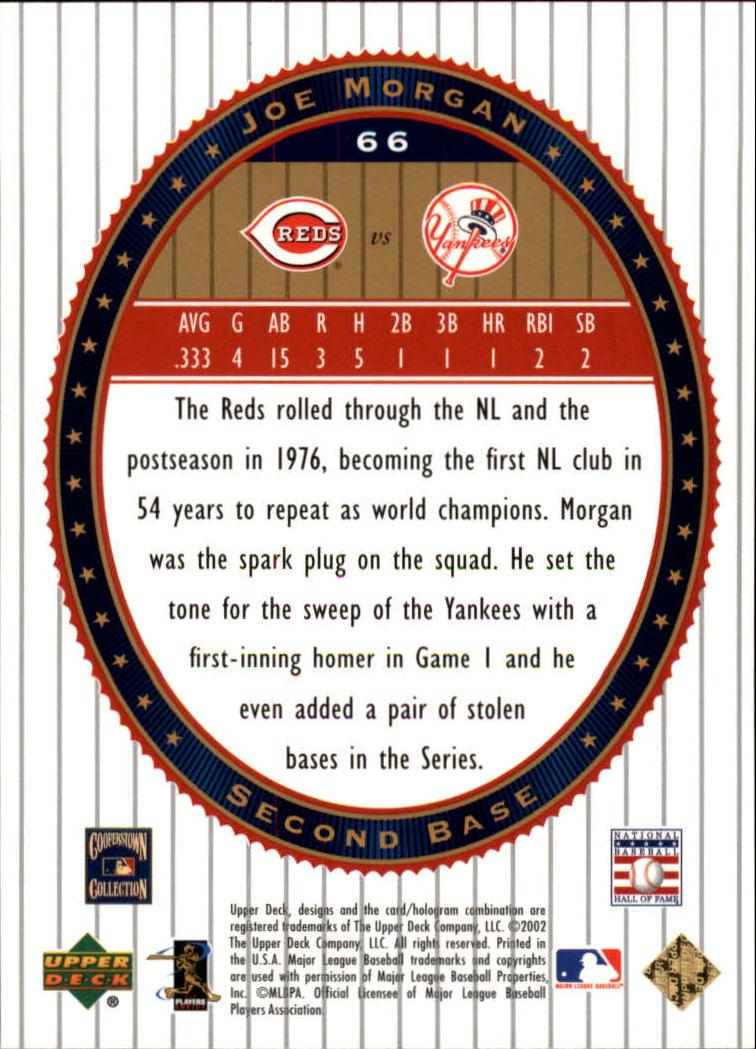 2002 Upper Deck World Series Heroes #66 Joe Morgan back image