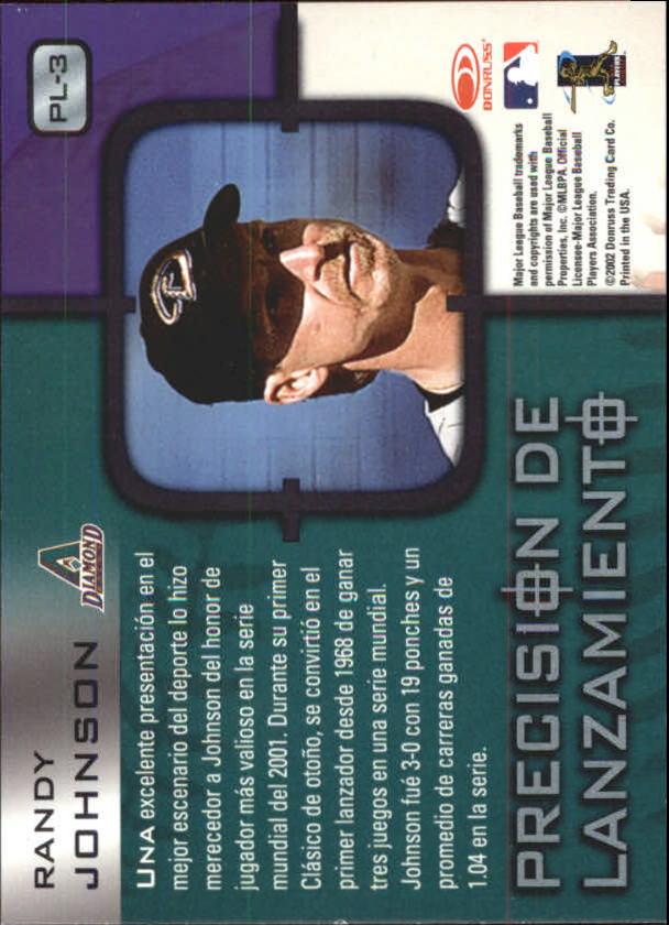 2002 Donruss Super Estrellas Precision De Lanzamiento #3 Randy Johnson back image