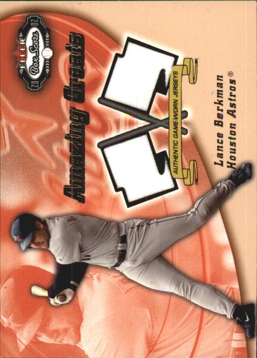 2002 Fleer Box Score Amazing Greats Dual Swatch #1 Lance Berkman