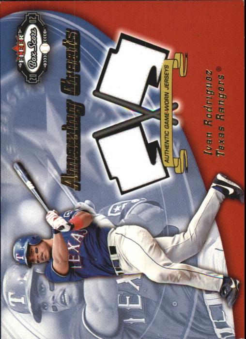 2002 Fleer Box Score Amazing Greats Dual Swatch #11 Ivan Rodriguez