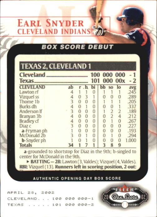 2002 Fleer Box Score Debuts #10 Earl Snyder