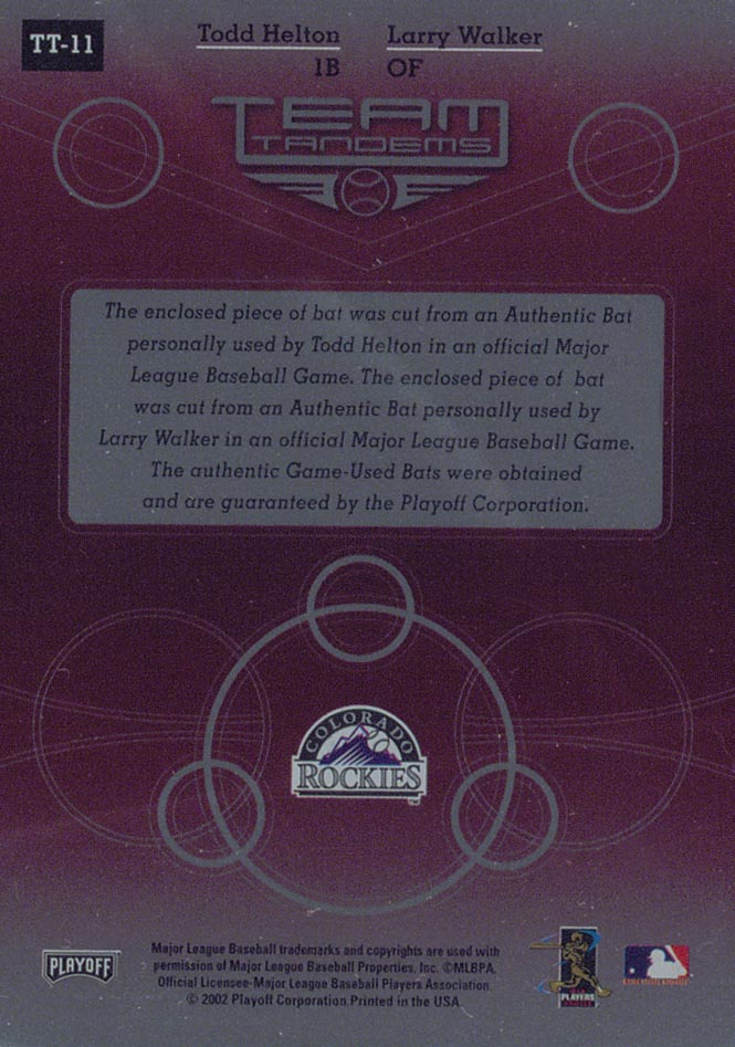 2002 Absolute Memorabilia Team Tandems Materials #TT11 Todd Helton Bat/Larry Walker Bat back image