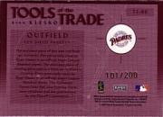 2002 Absolute Memorabilia Tools of the Trade Materials #TT80 Ryan Klesko Bat-Fld Glv back image