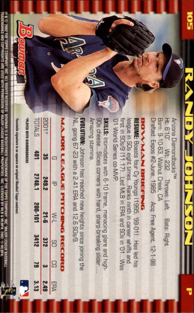 2002 Bowman #105 Randy Johnson back image